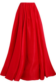 Reem Acra Pleated silk-gazar maxi skirt