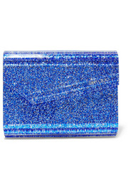 Jimmy Choo Candy suede-trimmed glittered acrylic clutch