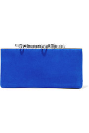 Jimmy Choo Celeste crystal-embellished suede clutch