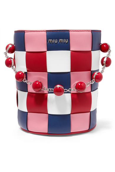 Miu Miu. Woven leather bucket bag 125c533ac4a8d