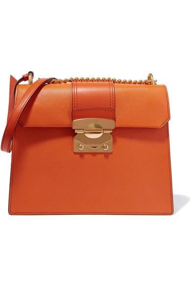 Miu Miu - Large Textured-leather Shoulder Bag - Orange