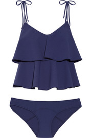 Imaan ruffled stretch-crepe bikini