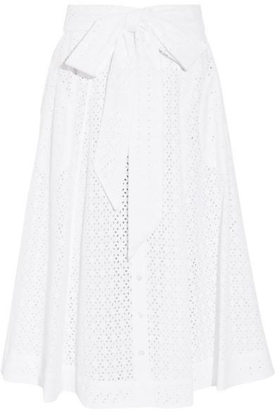 LISA MARIE FERNANDEZ Broderie Anglaise Cotton Midi Skirt
