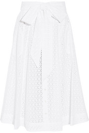 Broderie anglaise cotton midi skirt