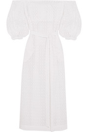 Off-the-shoulder broderie anglaise cotton maxi dress