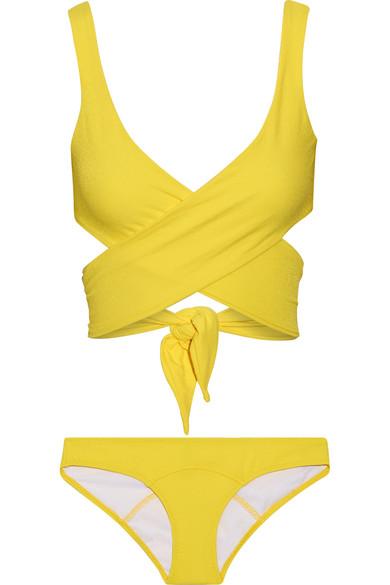Lisa Marie Fernandez - Marie-louise Crepe Wrap Bikini - Bright yellow