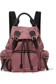 Burberry Small leather-trimmed gabardine backpack