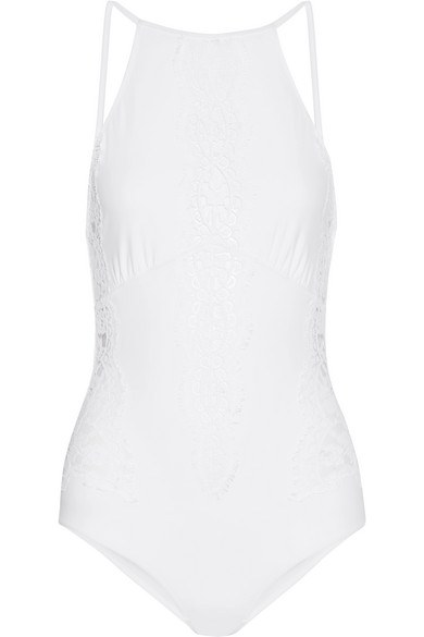 I.D. Sarrieri - Elite Chantilly Lace-paneled Swimsuit - White