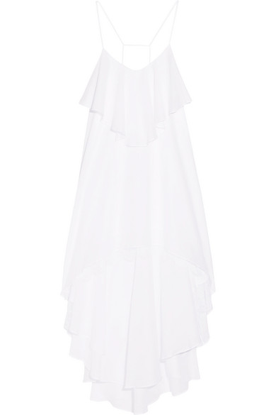 I.D. Sarrieri - Summertime Chantilly Lace-trimmed Ruffled Cotton-blend Voile Dress - White