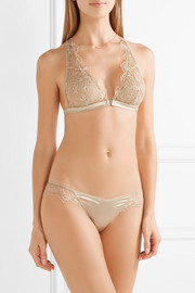 Accord Prive embroidered stretch-tulle and satin thong