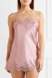 Tendresse Chantilly lace-trimmed silk-blend satin chemise
