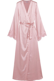 I.D. Sarrieri Tendresse Chantilly lace-trimmed silk-blend satin robe