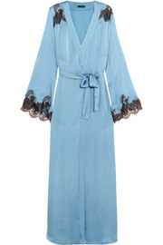Hôtel Particulier Chantilly lace-trimmed silk-blend satin robe