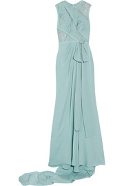 Lace-paneled silk-blend georgette gown