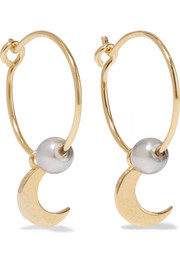 Satelite Moon gold-plated pearl earrings
