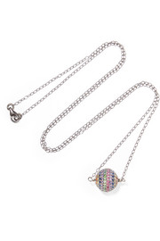 Rainbow silver-tone crystal necklace