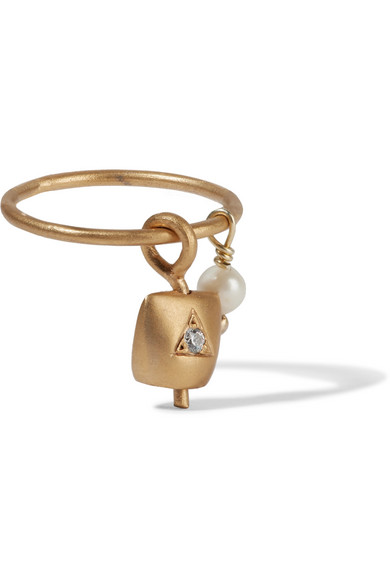 IAM by Ileana Makri - Belle Gold-plated, Pearl And Cubic Zirconia Ring