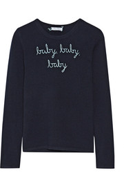 Lingua Franca Baby Baby Baby embroidered cashmere sweater