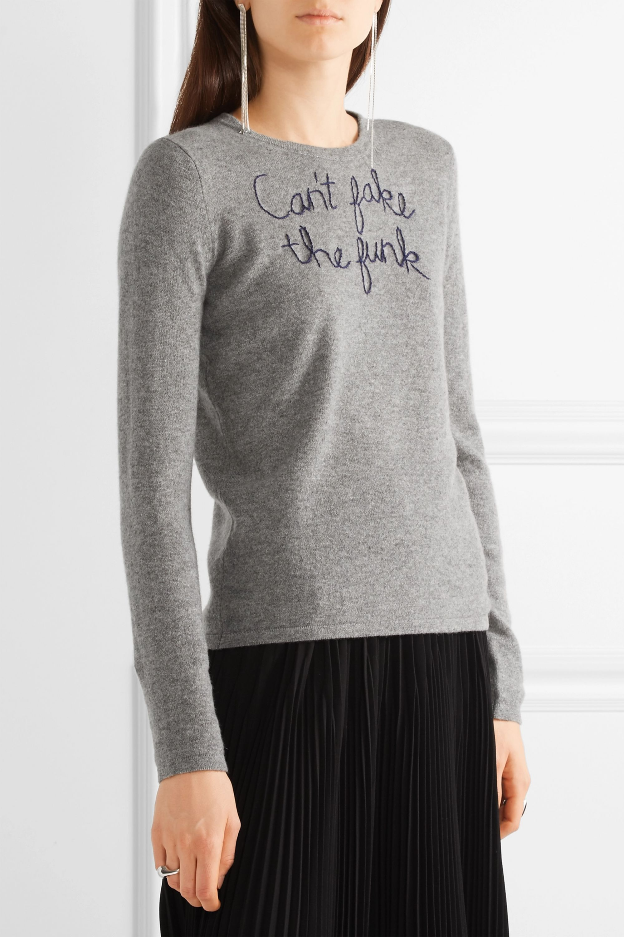Lingua Franca Can't Fake The Funk embroidered cashmere sweater