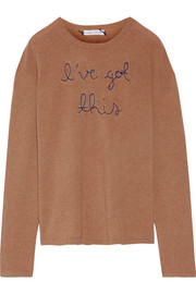 Lingua Franca I've Got This embroidered cashmere sweater