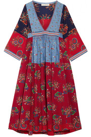 Milena embroidered patchwork cotton and linen-blend dress