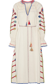Ulla Johnson Natalia crochet-trimmed embroidered silk-noil midi dress