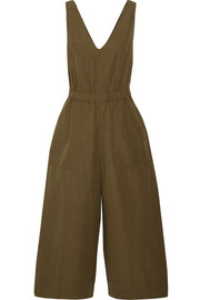 Ulla Johnson Zoe cropped cotton and linen-blend twill jumpsuit