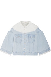 Ulla Johnson Kloe cropped frayed ombré denim jacket