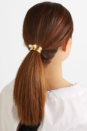 Gold-plated Swarovski pearl hair tie