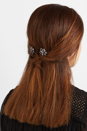 Set of two Pia gunmetal-plated Swarovski crystal hair slides