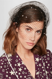 Beehive Swarovski crystal-embellished veiled headpiece