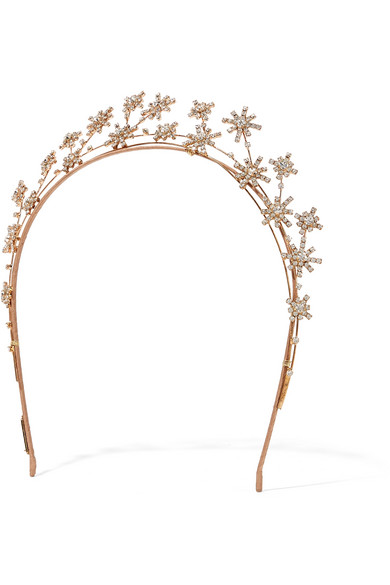 Jennifer Behr - Starlight Gold-plated Swarovski Crystal Headband - Rose gold