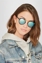 KREWE St. Louis round-frame matte-acetate and gold-tone mirrored sunglasses