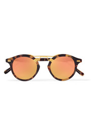 KREWE St. Louis round-frame acetate and gold-tone mirrored sunglasses