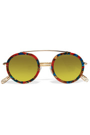 Conti round-frame acetate and gold-plated mirrored sunglasses