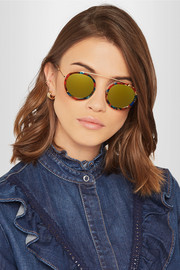 KREWE Conti round-frame acetate and gold-plated mirrored sunglasses