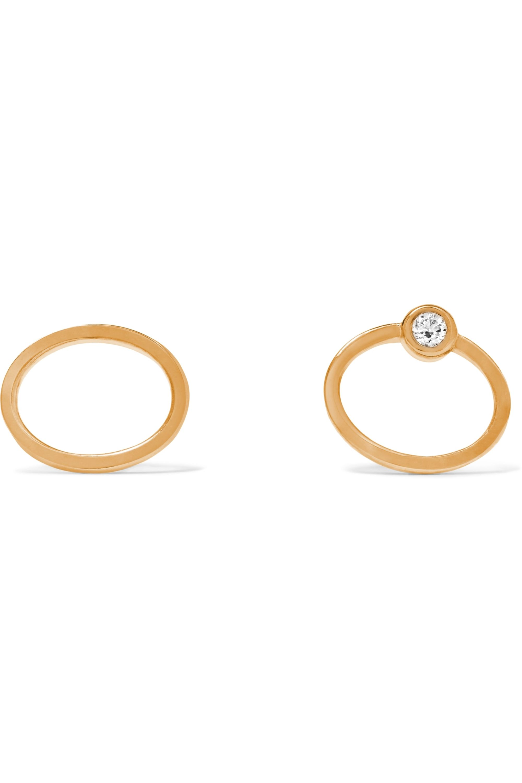 SARAH & SEBASTIAN Stone Oval Ohrringe aus 9 Karat Gold mit Diamant