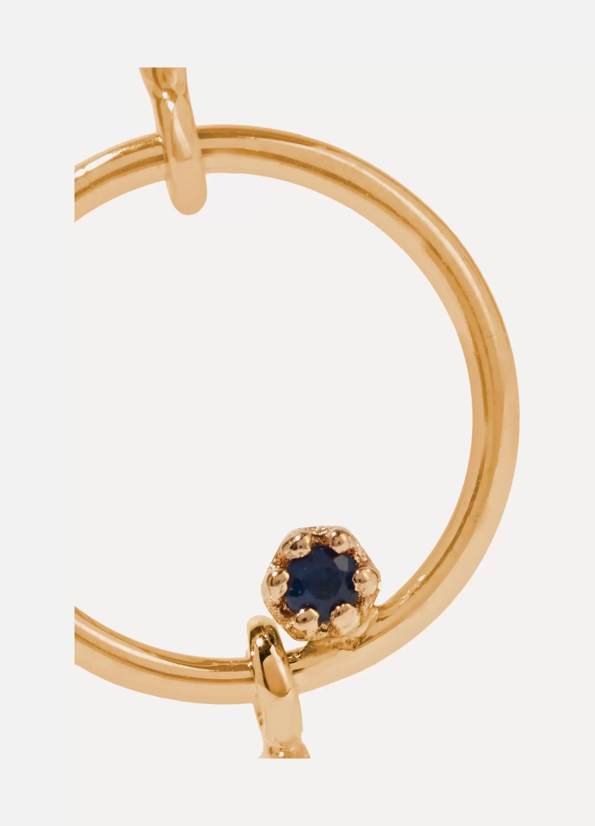 SARAH & SEBASTIAN Long Bubble Ohrring aus 14 Karat Gold mit Saphir