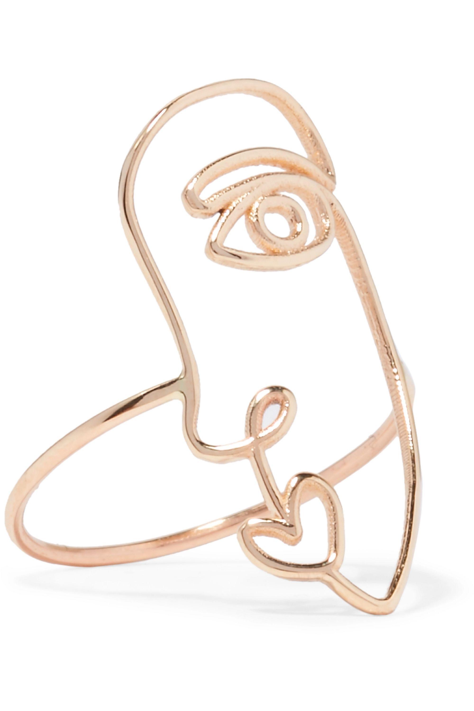 SARAH & SEBASTIAN Face 14-karat gold ring
