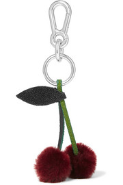 Stingray-trimmed shearling keychain