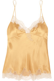 Embroidered lace-trimmed silk-satin camisole