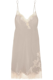 Louisine Chantilly lace-trimmed silk-satin chemise