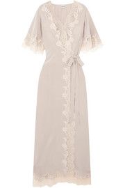 Déshabillé Chantilly lace-trimmed silk-satin robe
