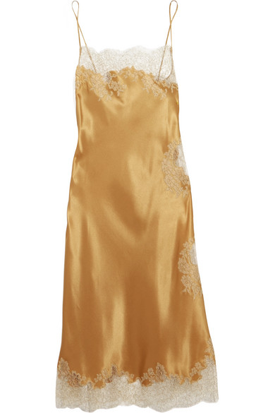 Carine Gilson - Chantilly Lace-trimmed Silk-satin Chemise - Gold