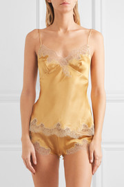 Carine Gilson Metallic embroidered lace-trimmed stretch-silk satin shorts