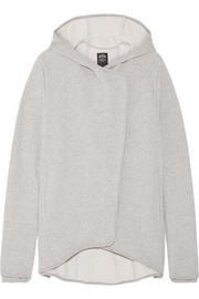 Asymmetric French cotton-terry hooded top