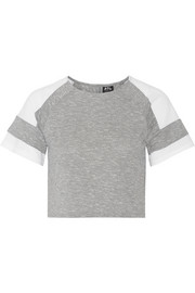 Cropped mesh-paneled mélange cotton-blend jersey T-shirt