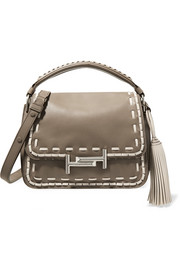 Double T whipstitched leather shoulder bag