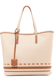 Gipsy whipstitched textured-leather tote
