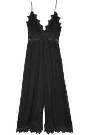 Tropicale lace-trimmed crinkled silk-georgette jumpsuit